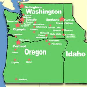 map of idaho and oregon eastern washington map with cities