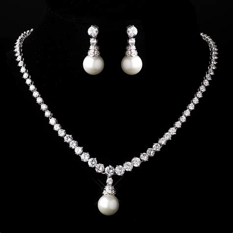 silver white pearl necklace and earring set f860 white