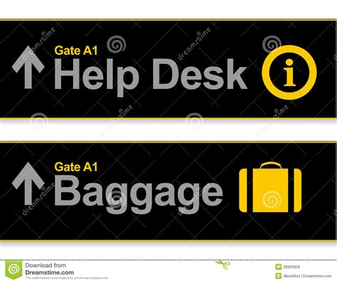 traveler help desk flights help desk and baggage airport signs stock illustration