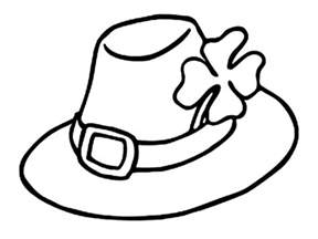 hat coloring leprechauns hat and a four leaf clovers coloring page