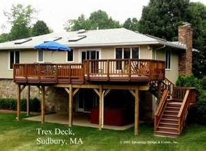 Pictures Of Patios And Decks by High Decks High Madeira Trex Deck Over Patio Sudbury