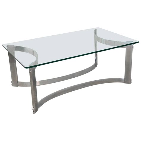 Rectangular Coffee Table With Glass Top And Curved Chrome Base For Glass Top Coffee Table