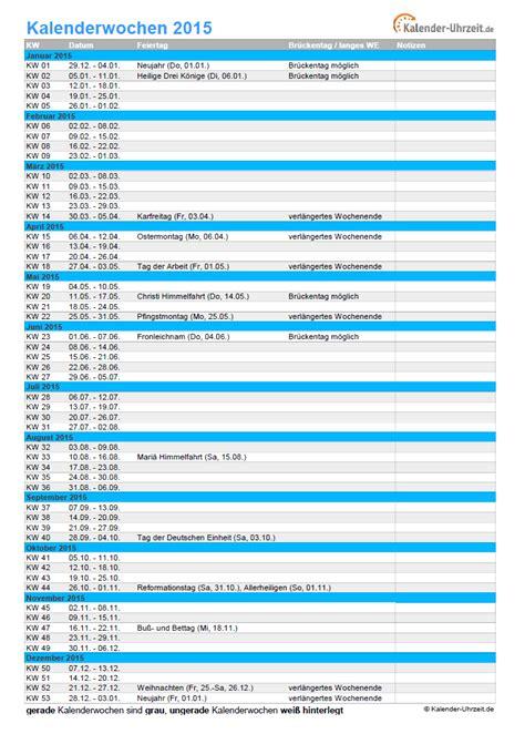 Wochen Kalender 2015 Kalenderwochen 2015 220 Bersicht