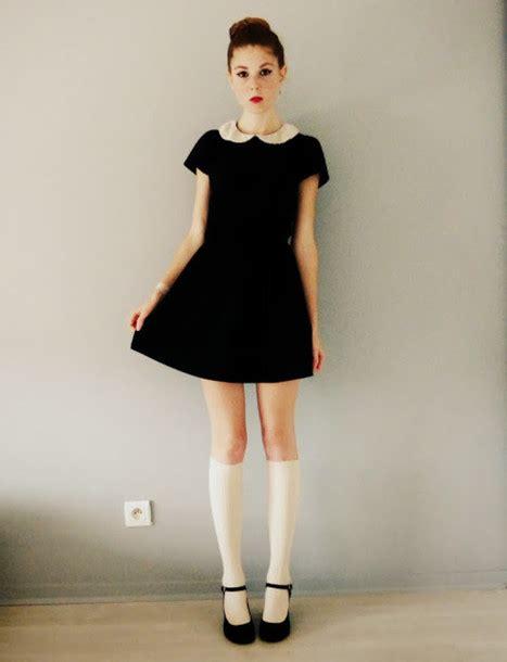 Nzns Black Dress dress black pan collar preppy black dress