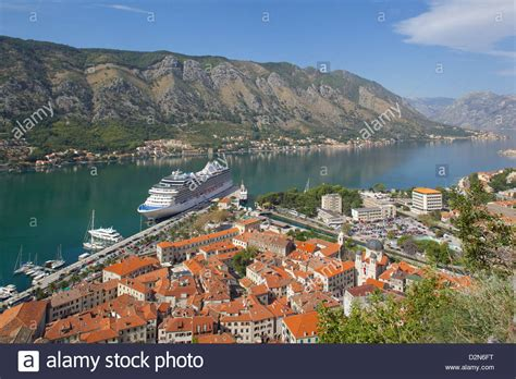 kotor cruise port view town and cruise ship in port kotor unesco