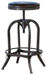 Industrial Swivel Bar Stools Dempsey Swivel Iron Bar Stool Brown Leather Industrial