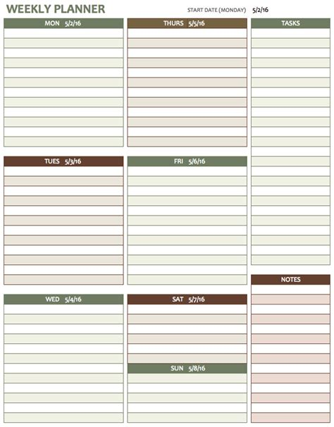week planner template free weekly schedule templates for excel smartsheet
