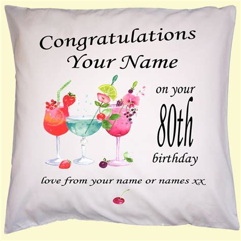 personalised birthday gift cushion cover any name year