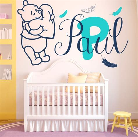 Wall Sticker Stiker Dinding Pooh Tiger wall decals baby winnie the pooh feathers vinyl sticker custom personalized name baby boy