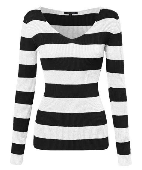 Sleeve V Neck Striped Top s striped sleeve v neck ribbed knit top