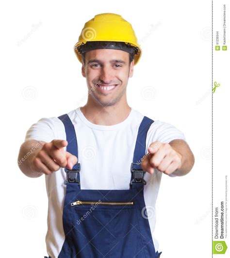 construction workers haircut happy latin construction worker showing both thumbs stock