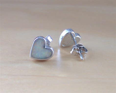 opal october birthstone 925 silver stud earrings 8mm 925 opal stud earrings white opal stud earrings opal