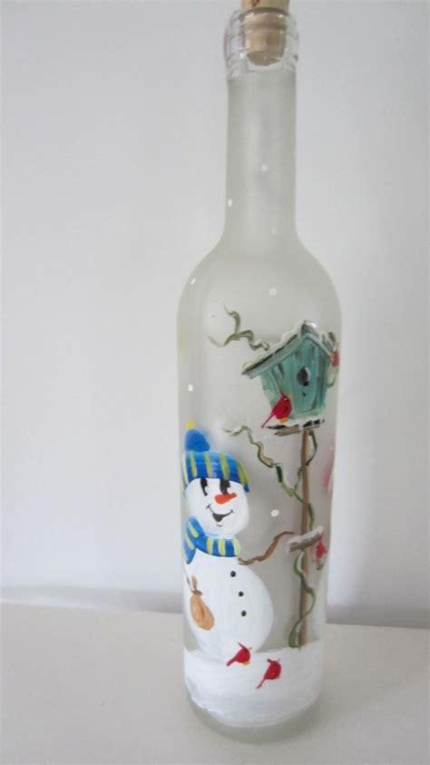 glass bottle crafts for lighted wine bottle craft snowmen lighted