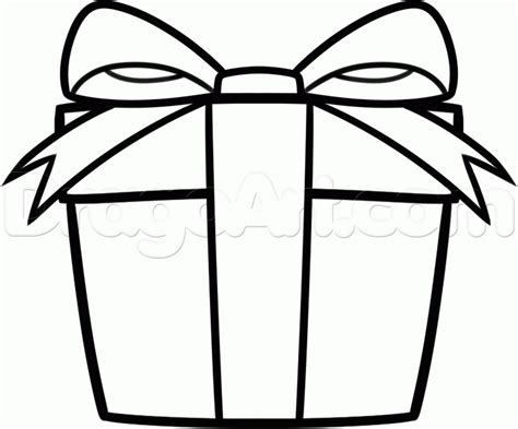 how to draw a christmas gift for kids step by step