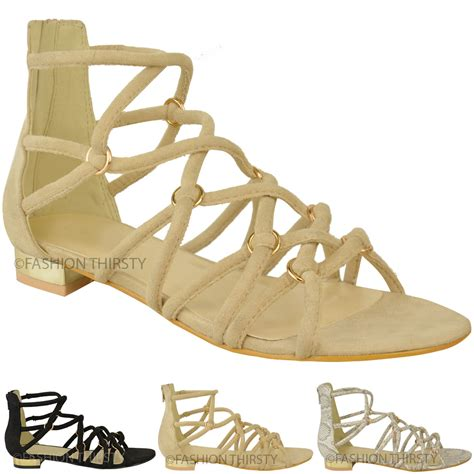 ankle gladiator sandals womens flat strappy sandals ankle high caged