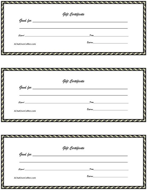 Free Printable Gift Cards - free printable gift certificates a chat over coffee