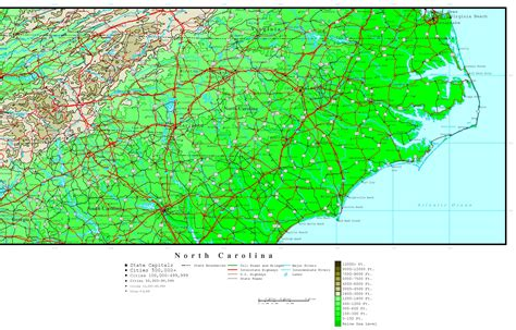nc map carolina elevation map