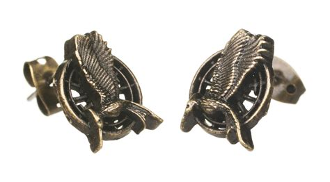 the hunger catching mockingjay stud earrings