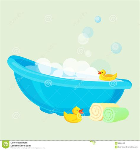bathtub with bubbles yellow duck in bathtub with bubbles vector illustration cartoondealer com 32427040