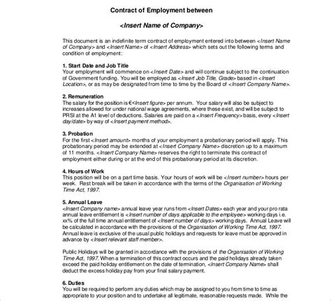 time employment contract template 13 employment contracts for restaurants cafes and