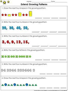 pattern questions grade 1 growing patterns worksheets for first grade math