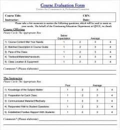 Course Assessment Template by Instructor Evaluation Form 8 Free Documents In Pdf