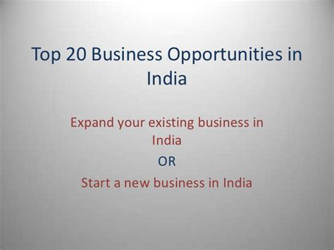Top Mba In India by Top 20 Business Opportunities In India