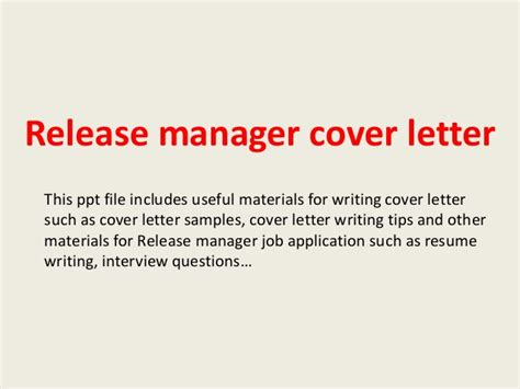 Release Letter To Manager release manager cover letter