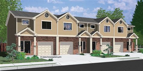 Four Bedroom House Floor Plans by Multi Family House Plans Duplex Plans Triplex Plans 4