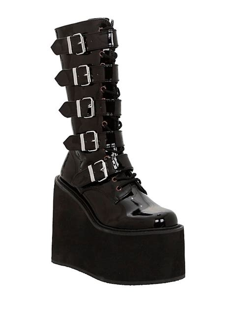 demonia swing boots demonia by pleaser swing black patent buckle strap boots
