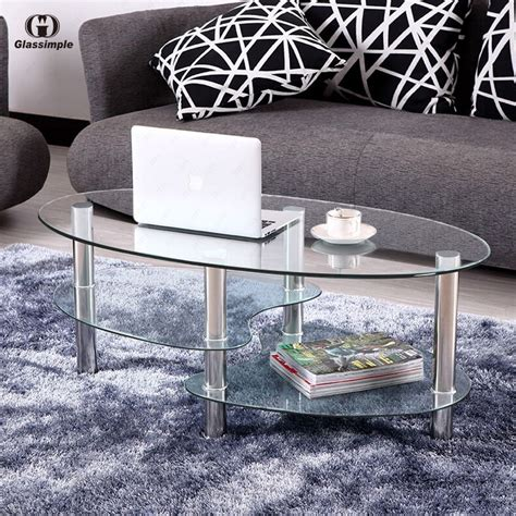 Clear Glass Table Ls For Living Room Clear Glass Oval Side Coffee Table Shelf Chrome Base Living Room Furniture Ebay