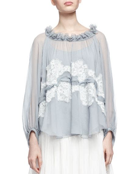 Lace Ruffled Blouse lace trimmed ruffled neck blouse neiman