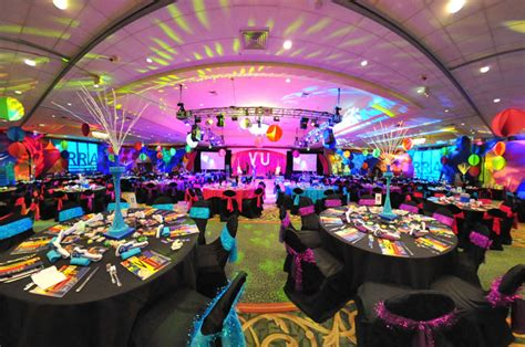 retro themed events colorful lighting suspended spandex decor and