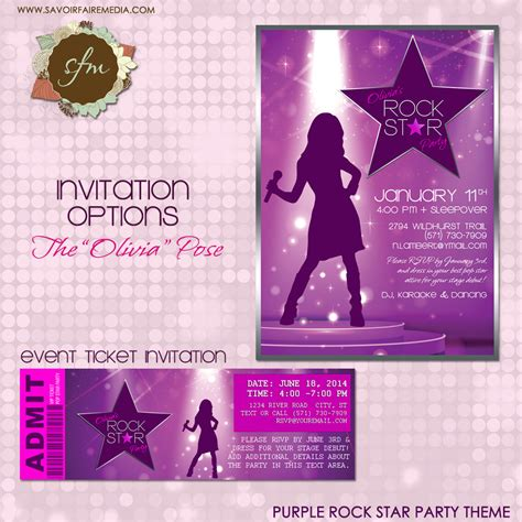 printable pop star party invitations rock star party invitation diy printable party invitation