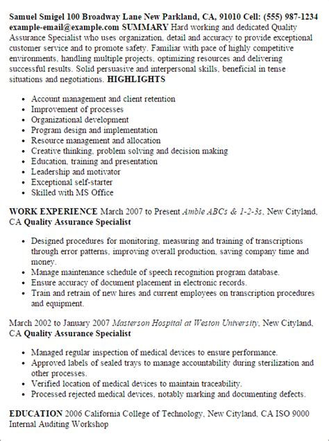 Quality Improvement Specialist Cover Letter by Professional Quality Assurance Specialist Templates To Showcase Your Talent Myperfectresume