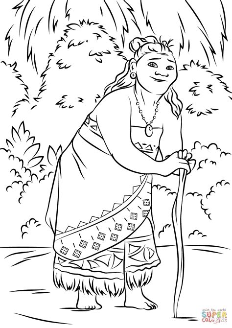 Gramma Tala From Moana Coloring Page Free Printable Coloring Pages Moana