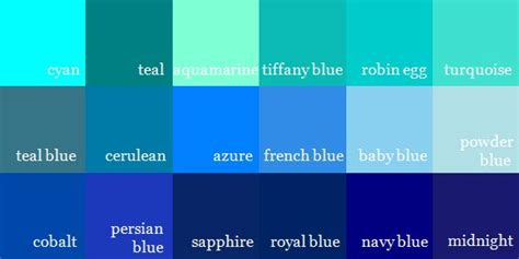 colors of blue shades of bluecolor names shades of blue color names