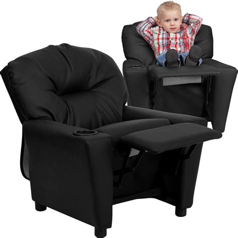 childrens leather recliner recliner cup holder and storage from sears com