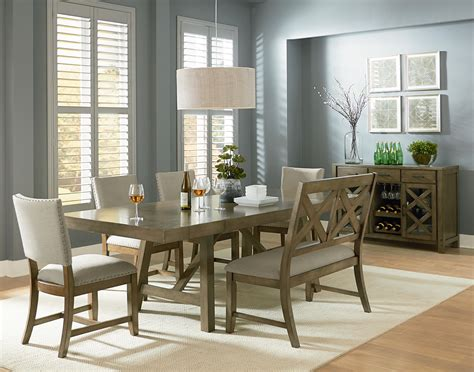 bench dining sets omaha grey 6 piece trestle table dining set with dining bench by standard furniture
