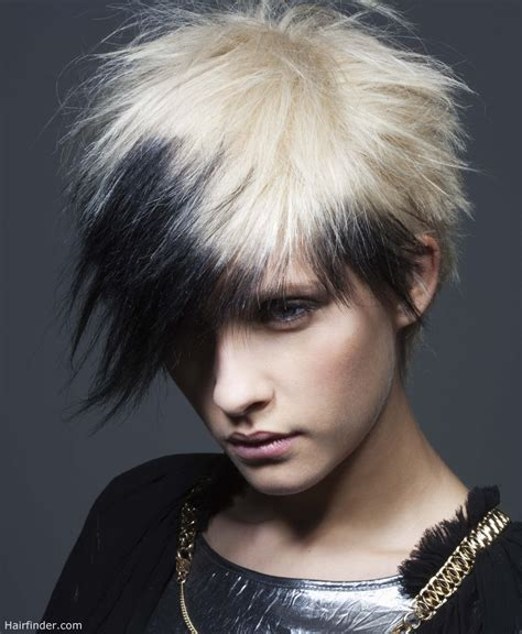 black and white color hairstyles short punk haircut with spikes and a contrast of black and