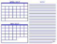 Two Month Calendar Template 2017
