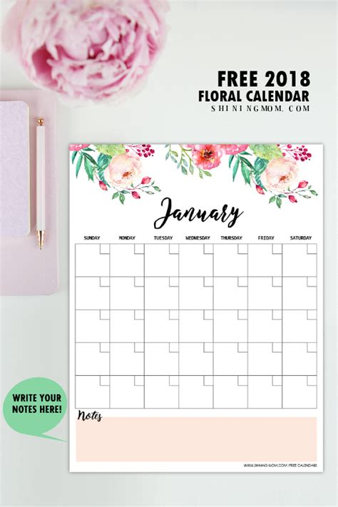 printable calendar 2018 pinterest free printable 2018 monthly calendar and planner