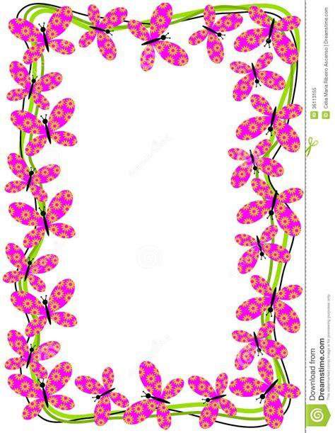 flying butterflies border frame stock illustration