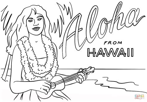 hawaiian coloring pages hawaiian with and ukulele coloring page free