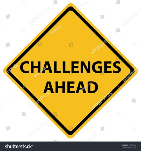 challenges for challenges ahead road sign illustration design stock