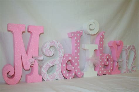 Letter Decorations For Nursery Decor Pink And White White Polka Dots 7 Letter Set