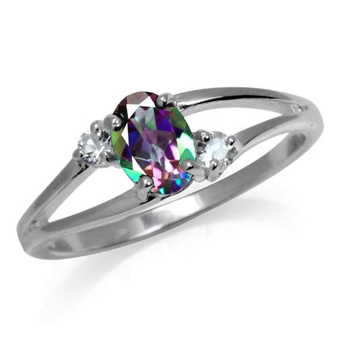 mystic white topaz 925 sterling silver engagement ring sz