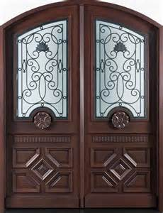 elegant mahogany and glass arch double front door the