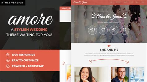 bootstrap themes wedding amore wedding html5 bootstrap template for weddings by