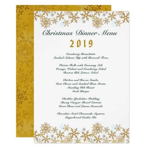 gold snowflakes white christmas dinner menu card zazzle com
